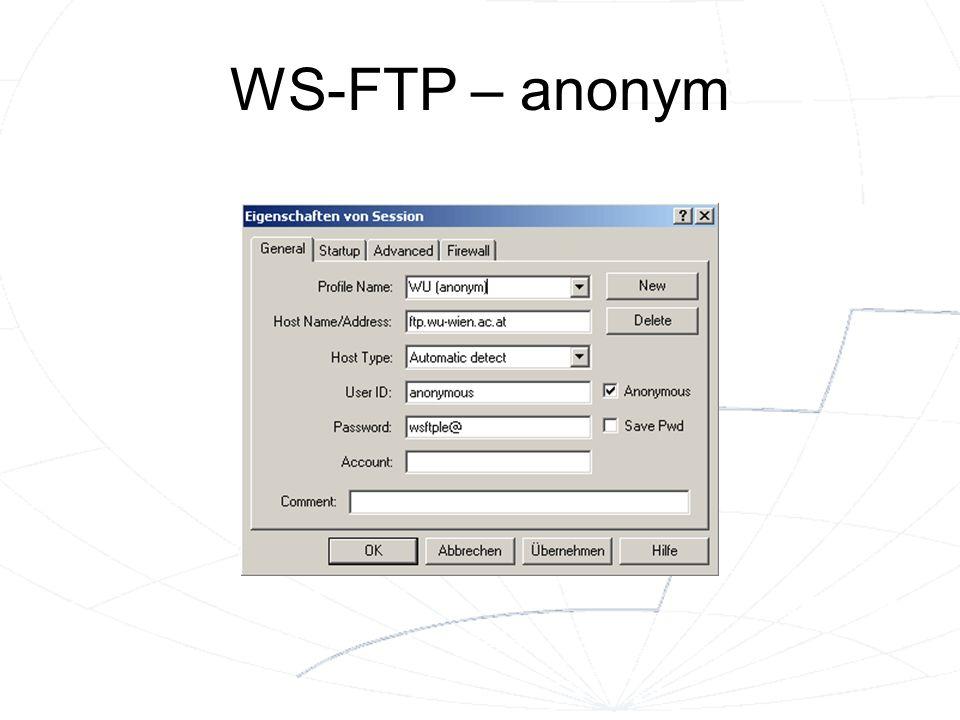 WS-FTP – anonym Achtung: Als Passwort nur eine e-mail-Adresse verwenden – niemals ein tatsächliches Passwort!