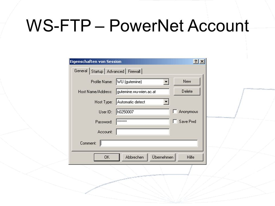WS-FTP – PowerNet Account
