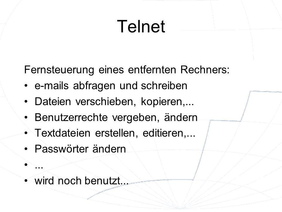 Telnet Fernsteuerung eines entfernten Rechners: