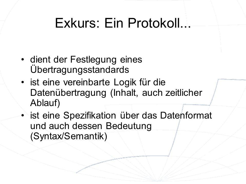 Exkurs: Ein Protokoll... dient der Festlegung eines Übertragungsstandards.