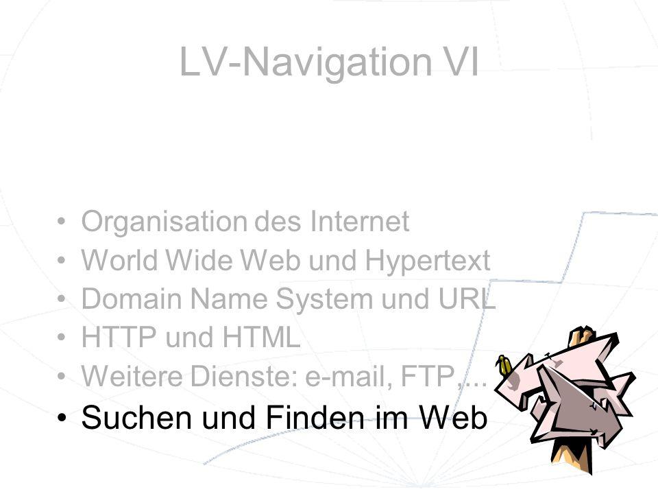 LV-Navigation VI Suchen und Finden im Web Organisation des Internet