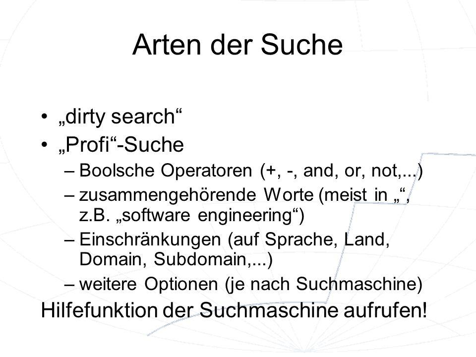 """Arten der Suche """"dirty search """"Profi -Suche"""