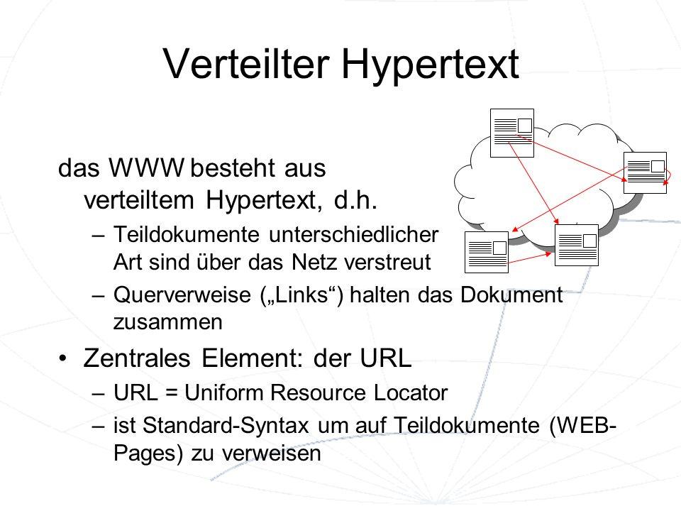 Verteilter Hypertext das WWW besteht aus verteiltem Hypertext, d.h.