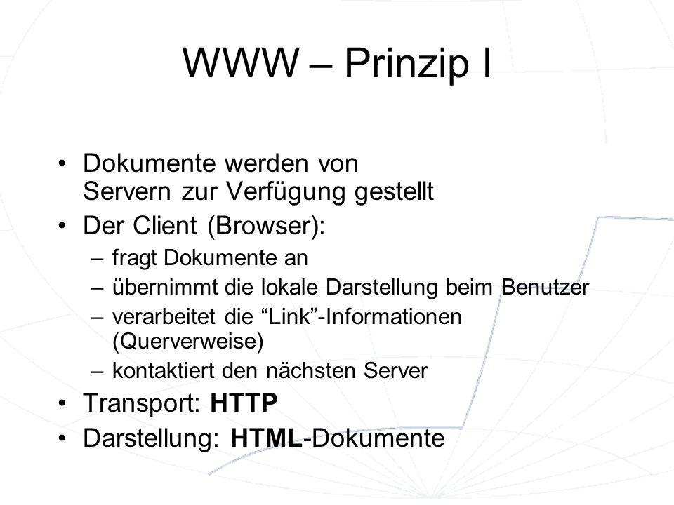 WWW – Prinzip I Dokumente werden von Servern zur Verfügung gestellt