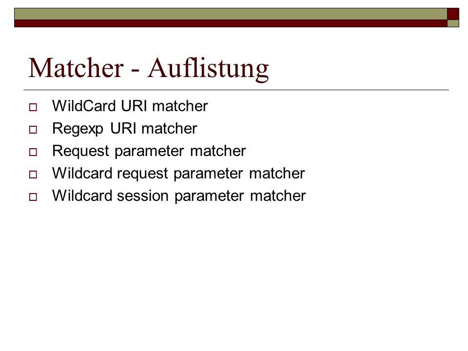 Matcher - Auflistung WildCard URI matcher Regexp URI matcher
