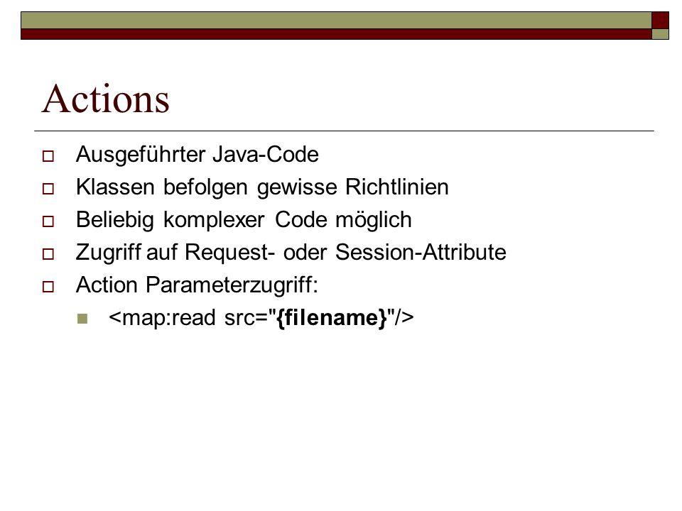 Actions Ausgeführter Java-Code Klassen befolgen gewisse Richtlinien