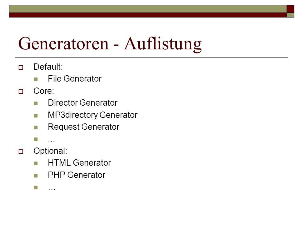 Generatoren - Auflistung