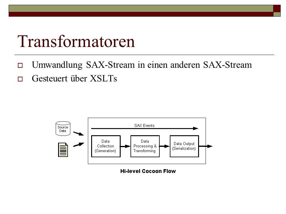 Transformatoren Umwandlung SAX-Stream in einen anderen SAX-Stream