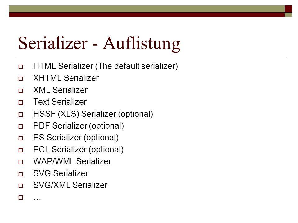 Serializer - Auflistung