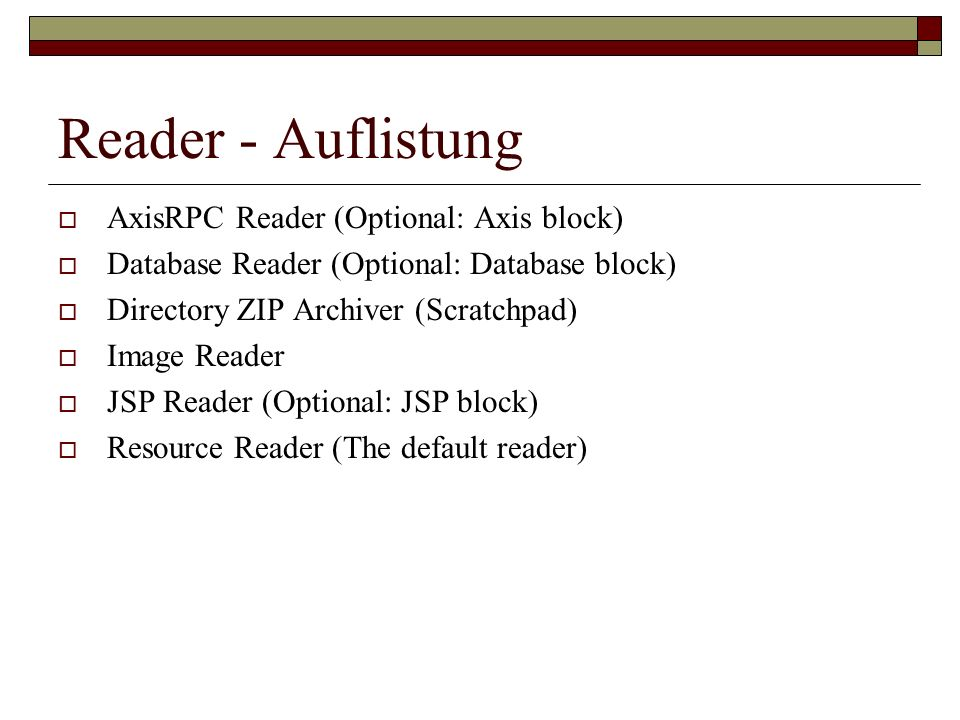Reader - Auflistung AxisRPC Reader (Optional: Axis block)