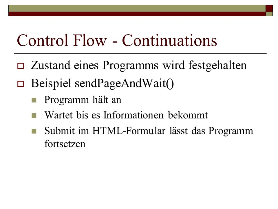 Control Flow - Continuations