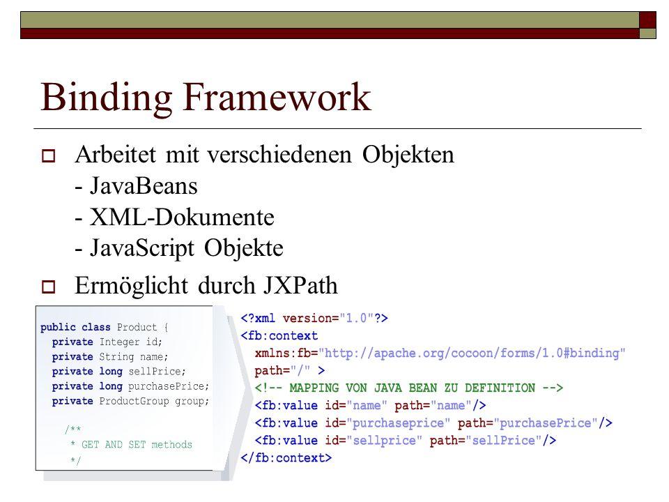 Binding Framework Arbeitet mit verschiedenen Objekten - JavaBeans - XML-Dokumente - JavaScript Objekte.