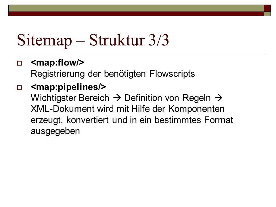 Sitemap – Struktur 3/3 <map:flow/> Registrierung der benötigten Flowscripts.
