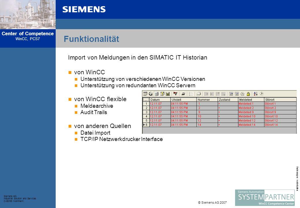 Funktionalität Import von Meldungen in den SIMATIC IT Historian