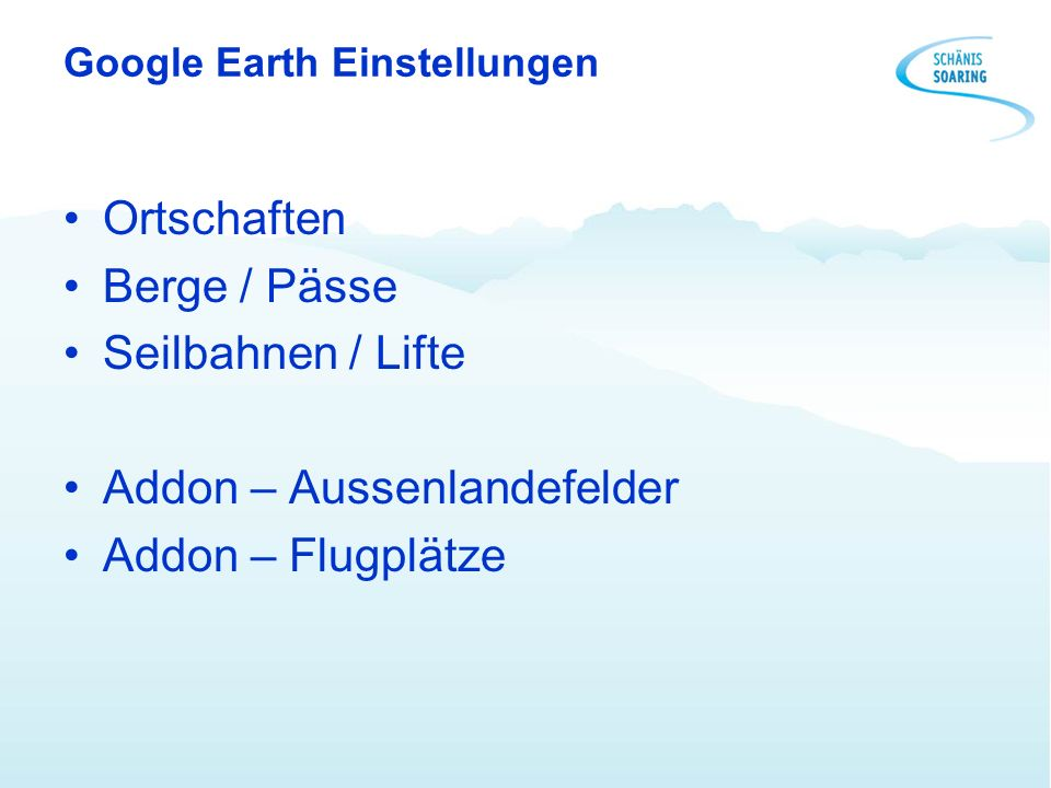 Google Earth Einstellungen