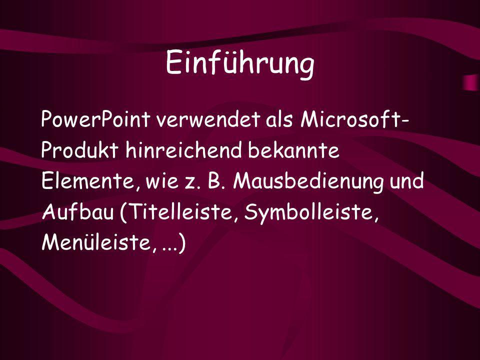 Einführung PowerPoint verwendet als Microsoft-