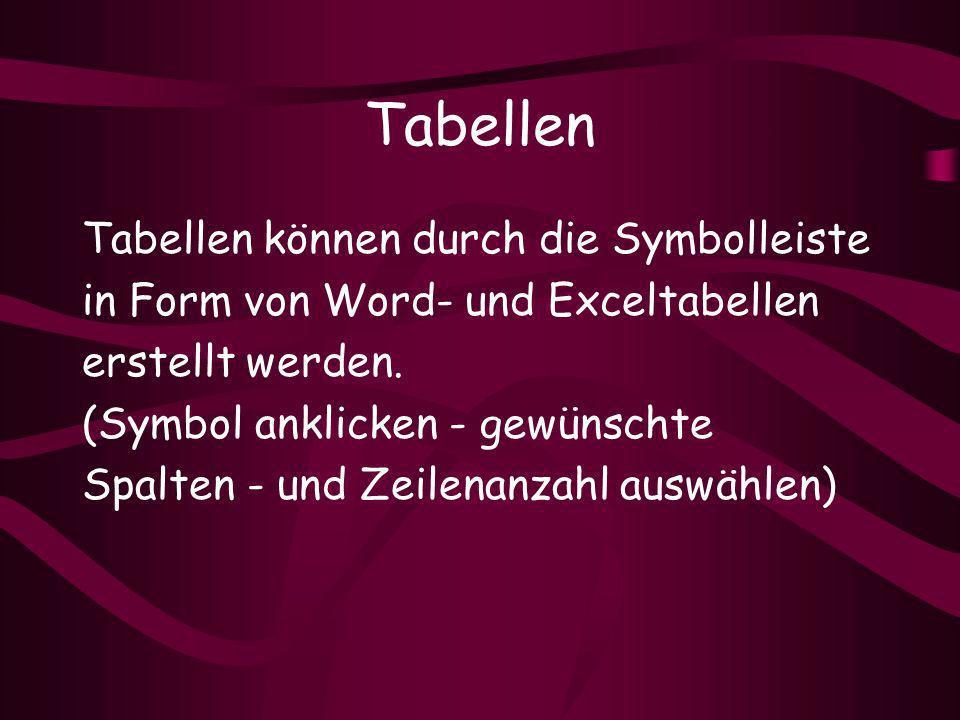 Tabellen Tabellen können durch die Symbolleiste