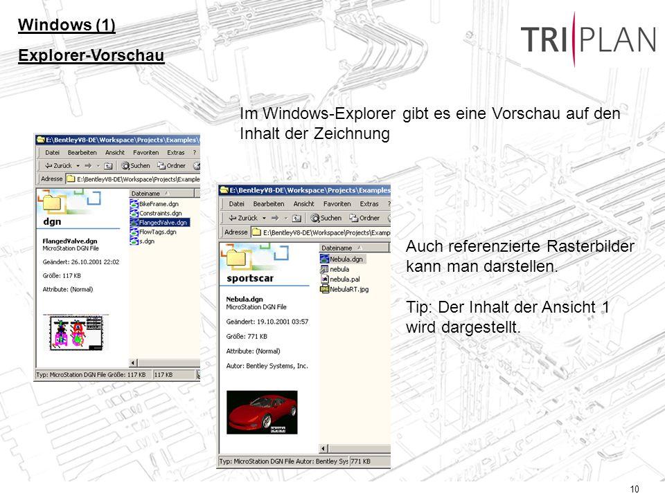 Windows (1) Explorer-Vorschau. Im Windows-Explorer gibt es eine Vorschau auf den Inhalt der Zeichnung.
