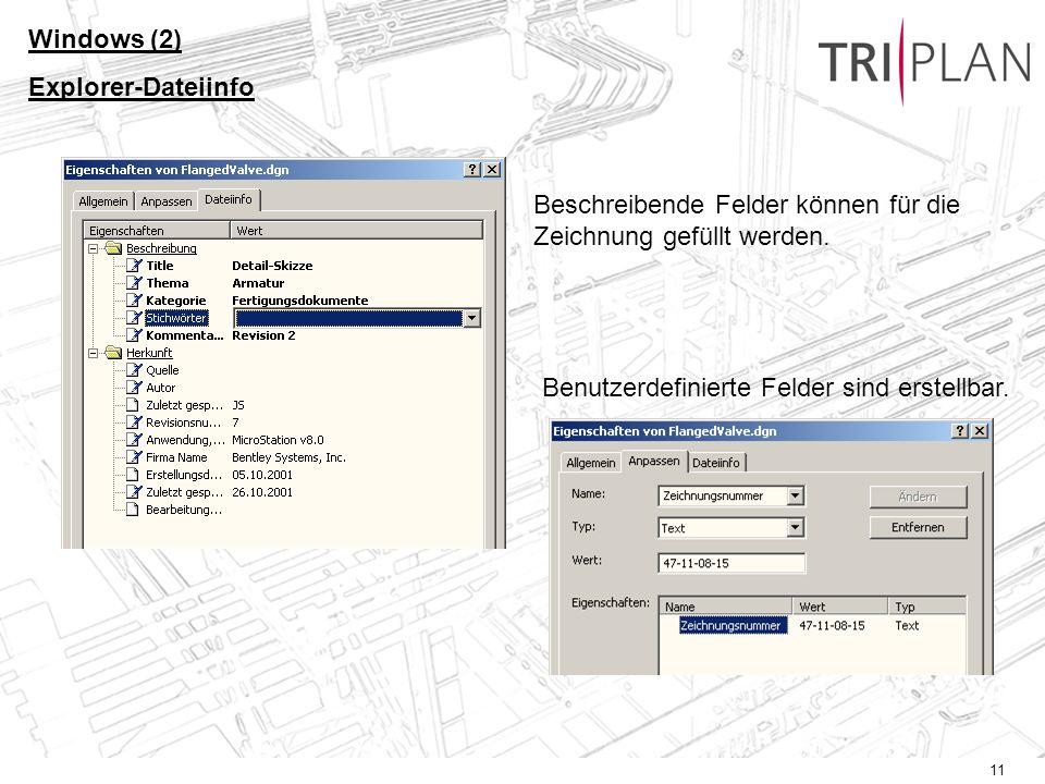 Windows (2) Explorer-Dateiinfo. Beschreibende Felder können für die Zeichnung gefüllt werden.