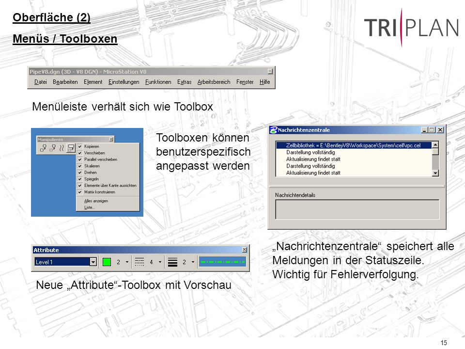Oberfläche (2) Menüs / Toolboxen. Menüleiste verhält sich wie Toolbox. Toolboxen können benutzerspezifisch angepasst werden.
