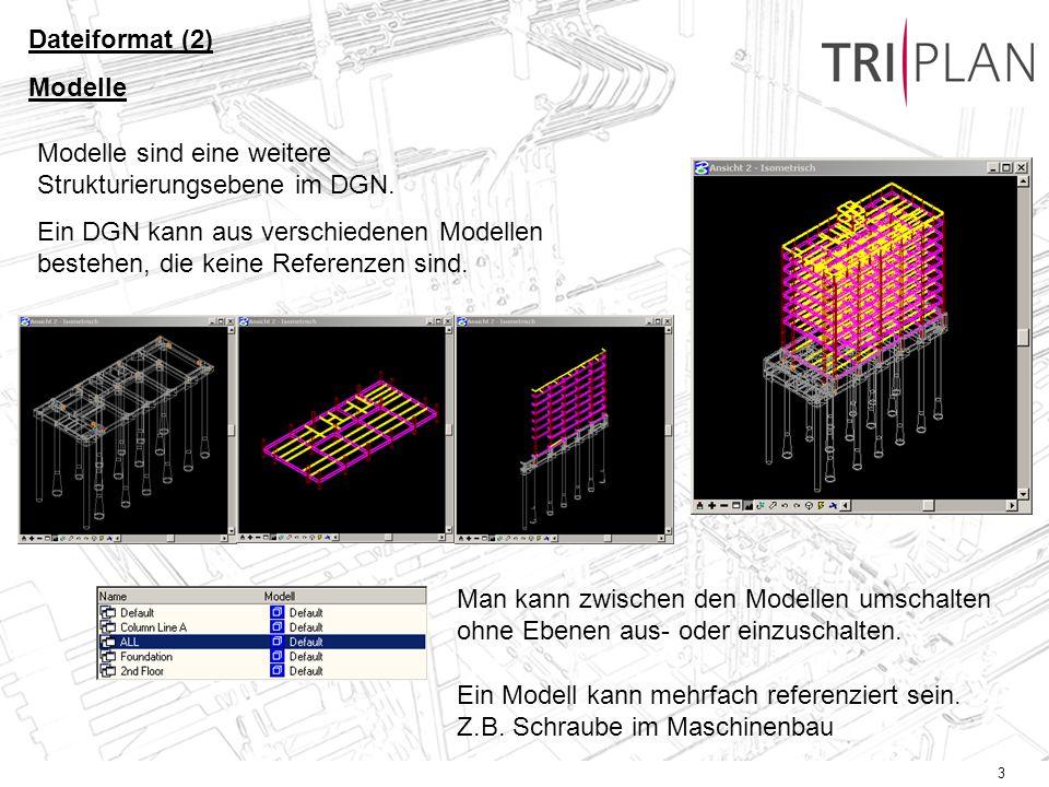 Dateiformat (2) Modelle. Modelle sind eine weitere Strukturierungsebene im DGN.