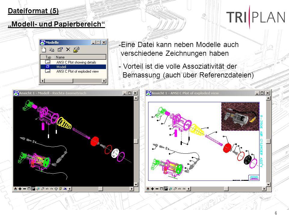 """Dateiformat (5) """"Modell- und Papierbereich Eine Datei kann neben Modelle auch verschiedene Zeichnungen haben."""