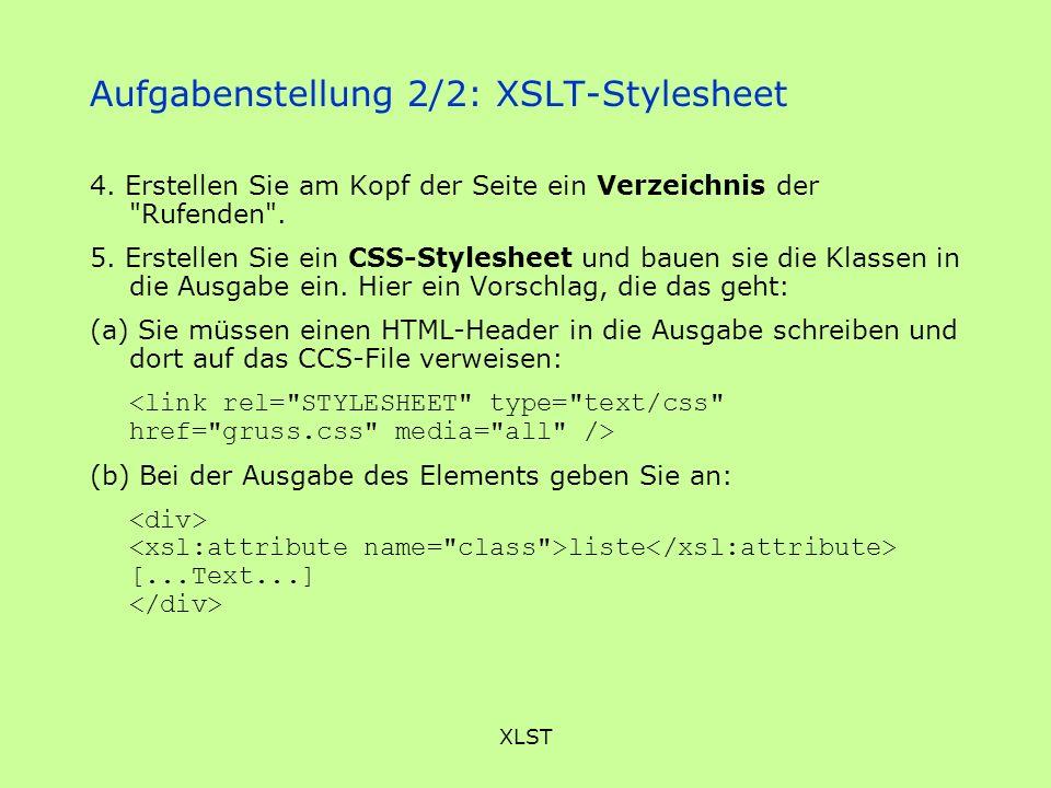 Aufgabenstellung 2/2: XSLT-Stylesheet