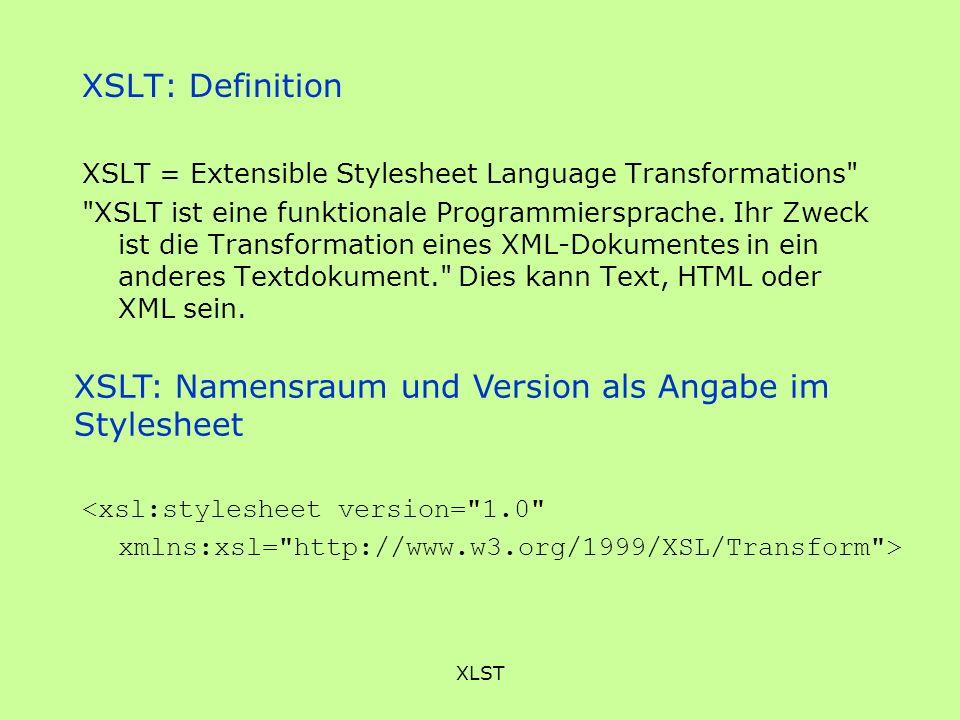 XSLT: Namensraum und Version als Angabe im Stylesheet