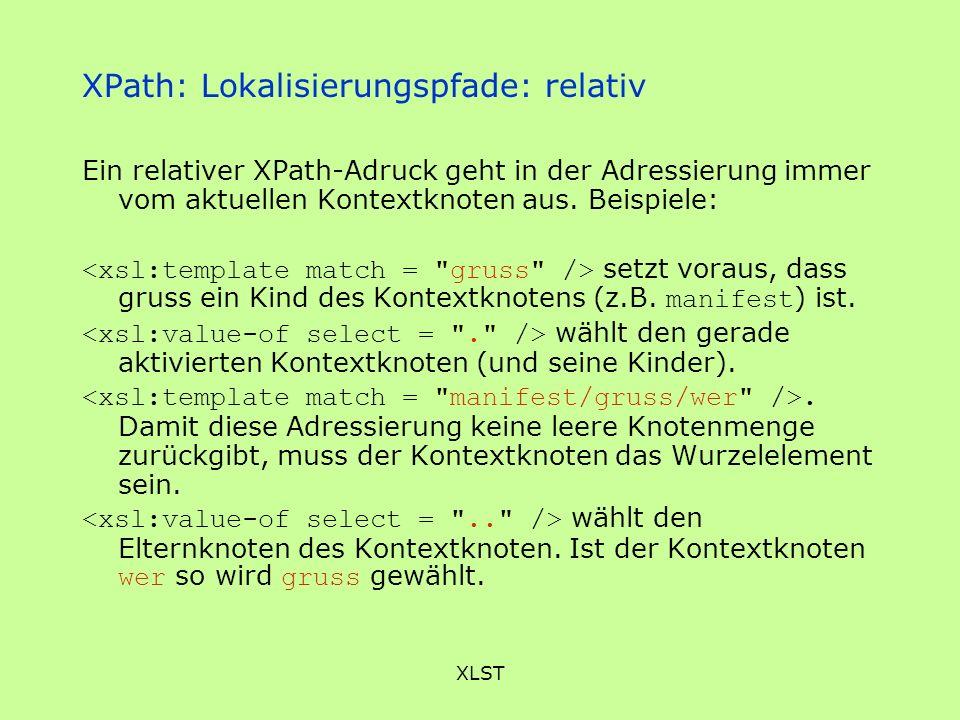 XPath: Lokalisierungspfade: relativ