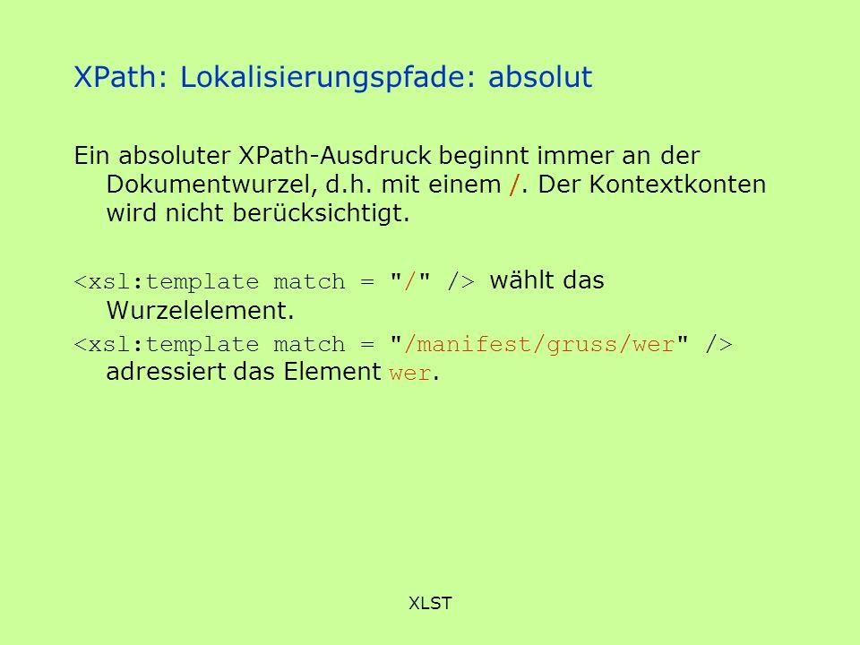 XPath: Lokalisierungspfade: absolut