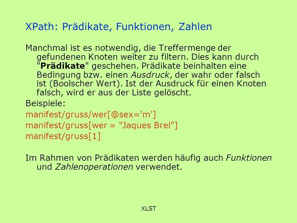 XPath: Prädikate, Funktionen, Zahlen