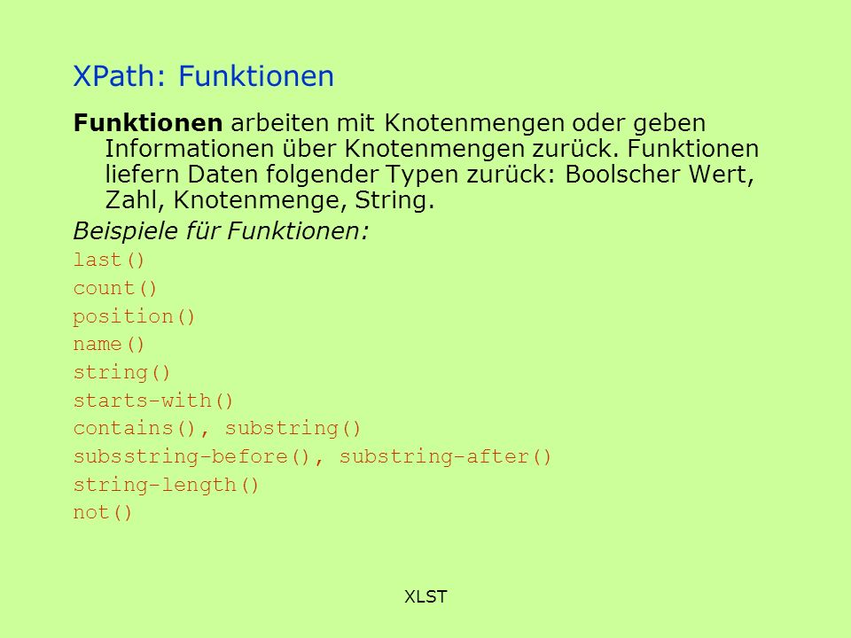 XPath: Funktionen