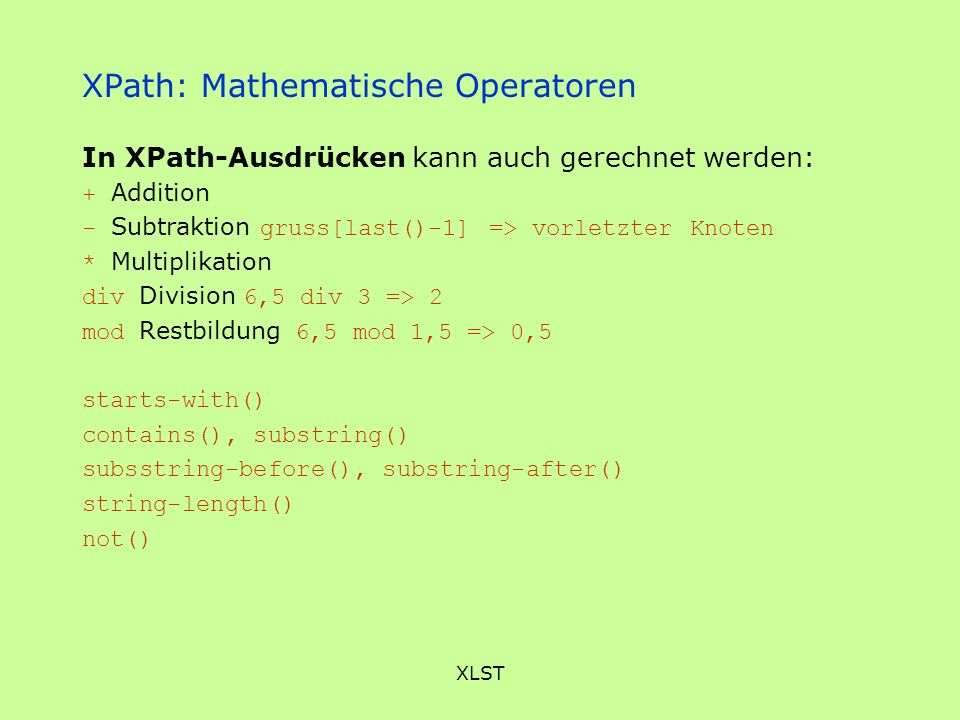 XPath: Mathematische Operatoren
