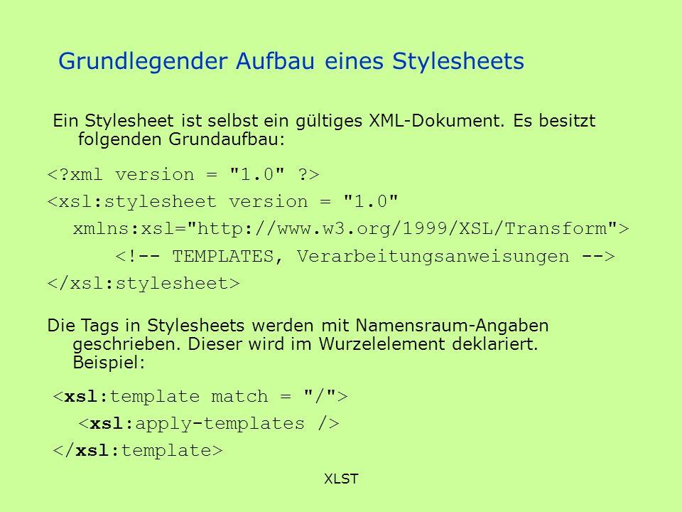 Grundlegender Aufbau eines Stylesheets