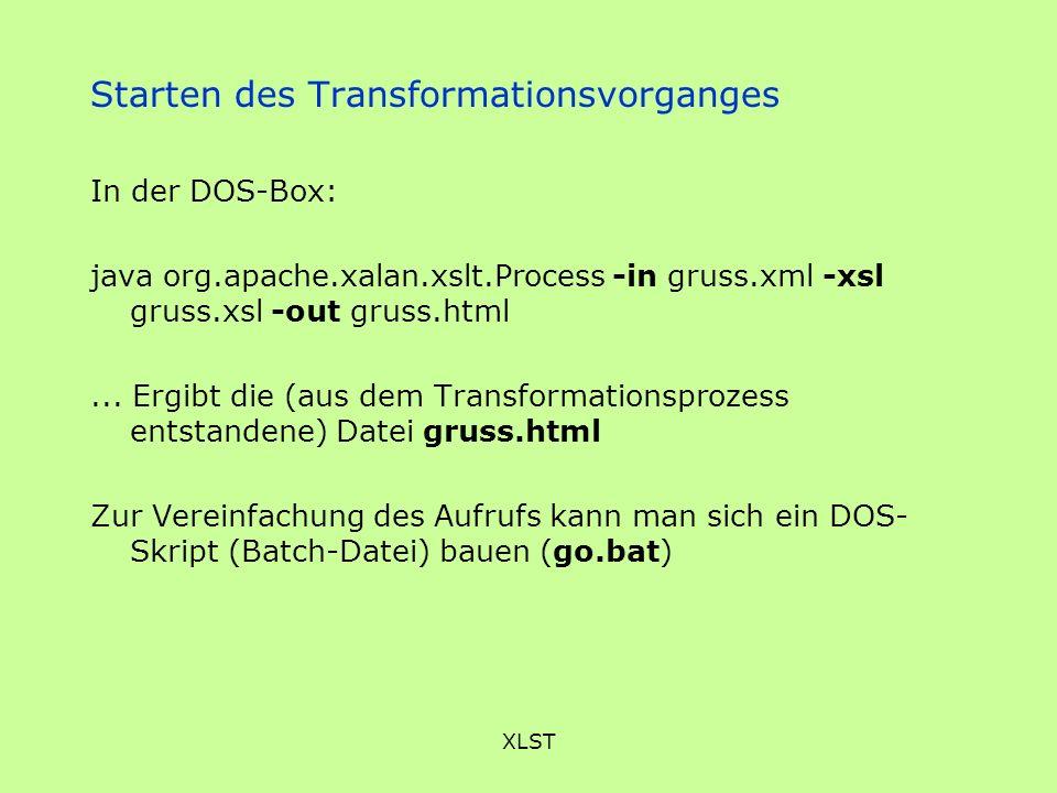 Starten des Transformationsvorganges
