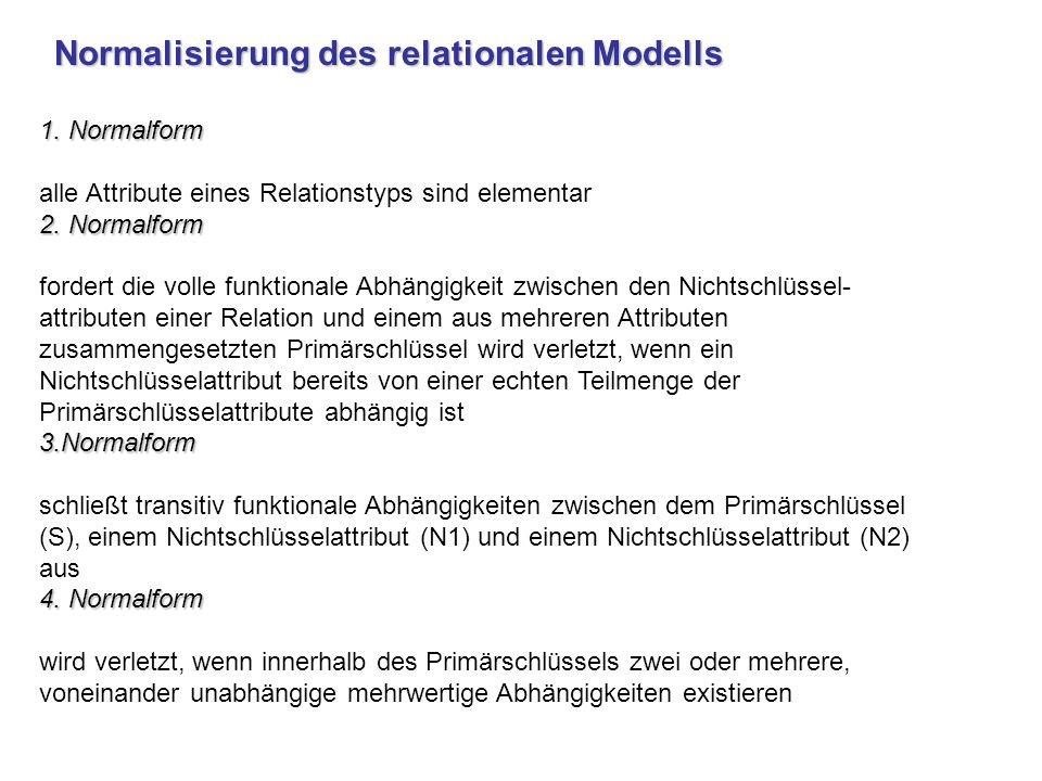 Normalisierung des relationalen Modells