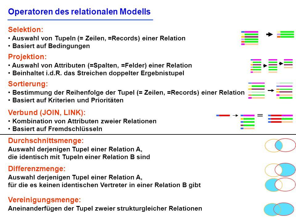 = Operatoren des relationalen Modells Selektion: Projektion: