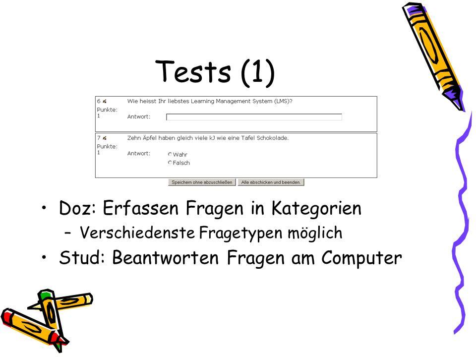 Tests (1) Doz: Erfassen Fragen in Kategorien