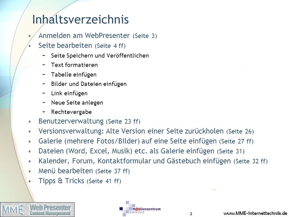 Inhaltsverzeichnis Anmelden am WebPresenter (Seite 3)
