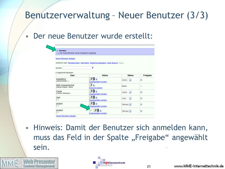 Benutzerverwaltung – Neuer Benutzer (3/3)