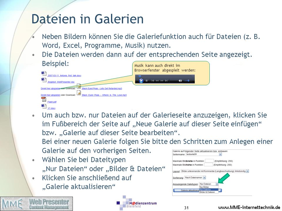 Dateien in Galerien Neben Bildern können Sie die Galeriefunktion auch für Dateien (z. B. Word, Excel, Programme, Musik) nutzen.