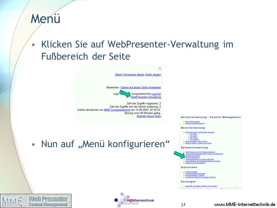 Menü Klicken Sie auf WebPresenter-Verwaltung im Fußbereich der Seite