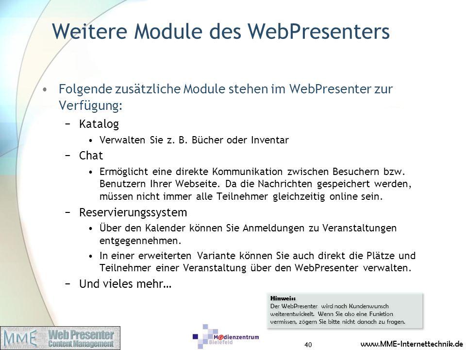 Weitere Module des WebPresenters