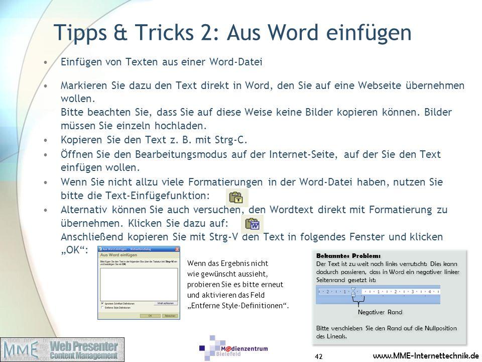 Tipps & Tricks 2: Aus Word einfügen