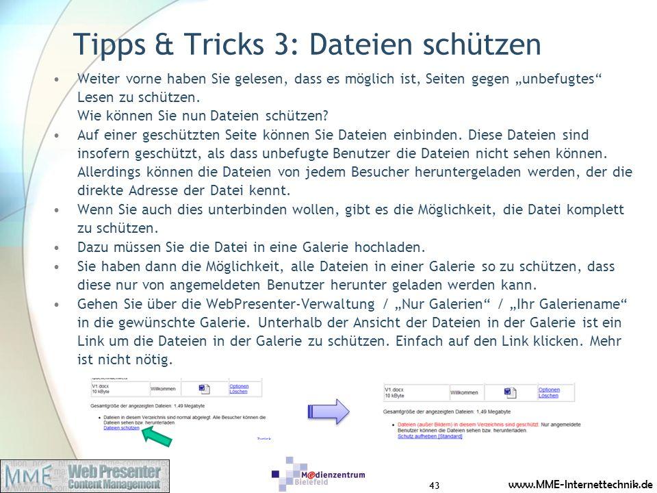 Tipps & Tricks 3: Dateien schützen