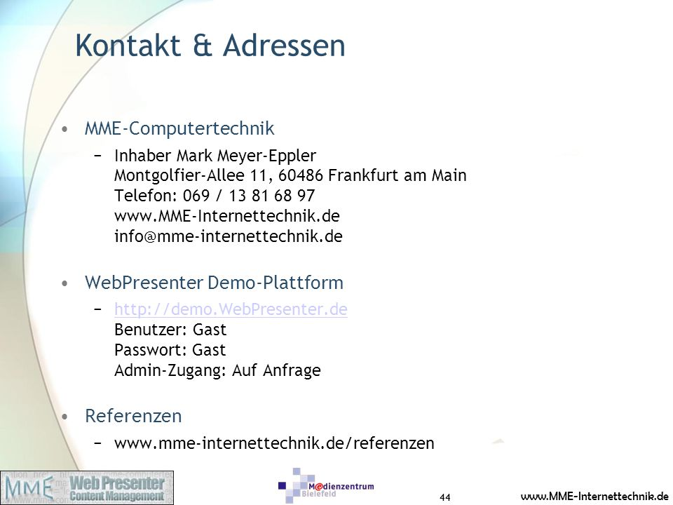 Kontakt & Adressen MME-Computertechnik WebPresenter Demo-Plattform