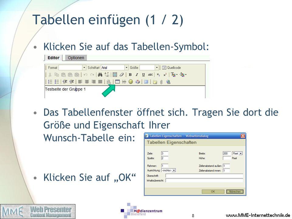 Tabellen einfügen (1 / 2) Klicken Sie auf das Tabellen-Symbol:
