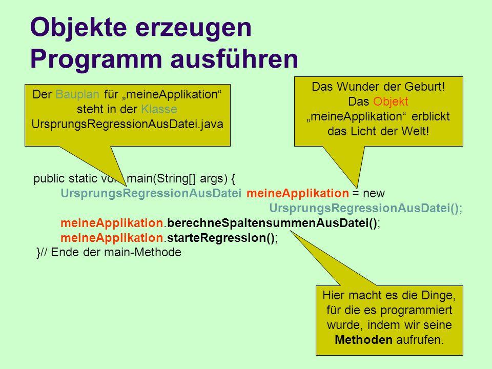 Objekte erzeugen Programm ausführen