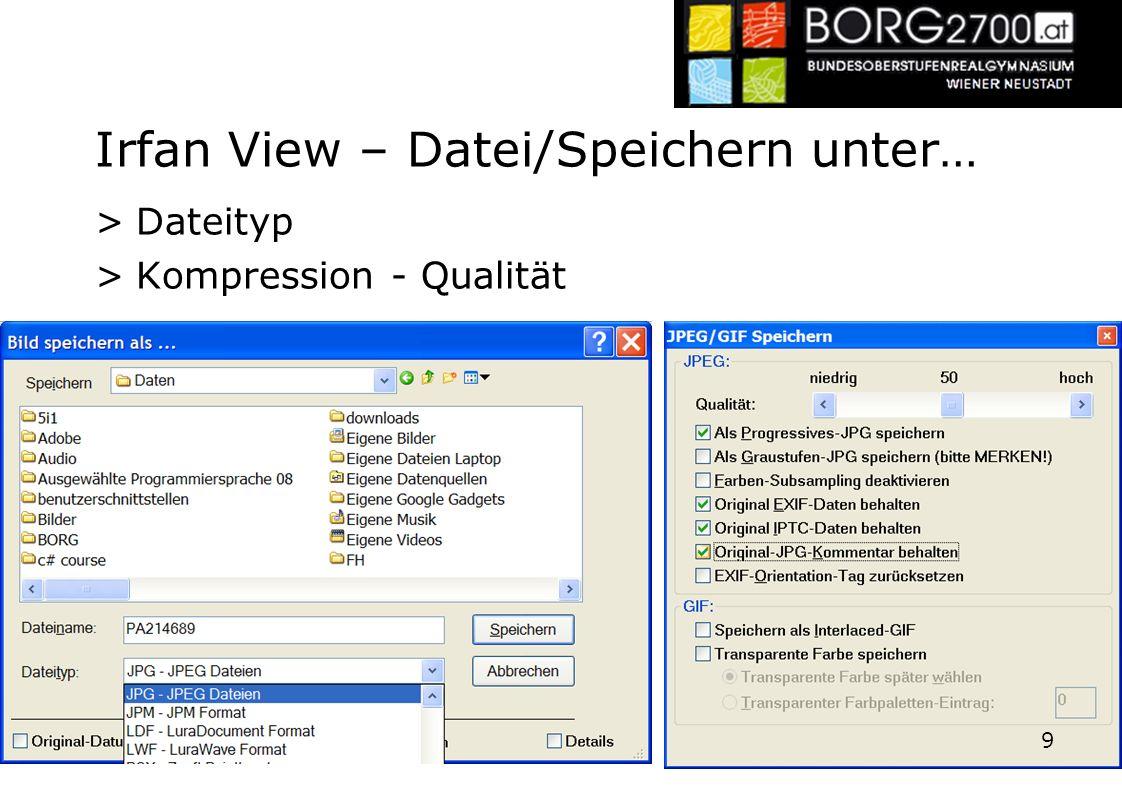 Irfan View – Datei/Speichern unter…