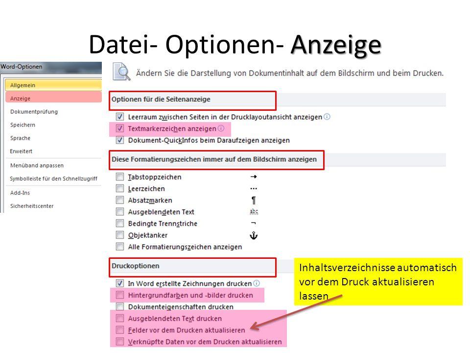 Datei- Optionen- Anzeige